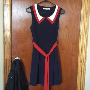 Sunny girl navy blue, red, and white dress